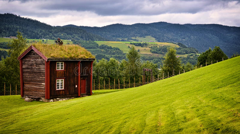 Green roof house. Traditional old wood house with green roof royalty free stock images