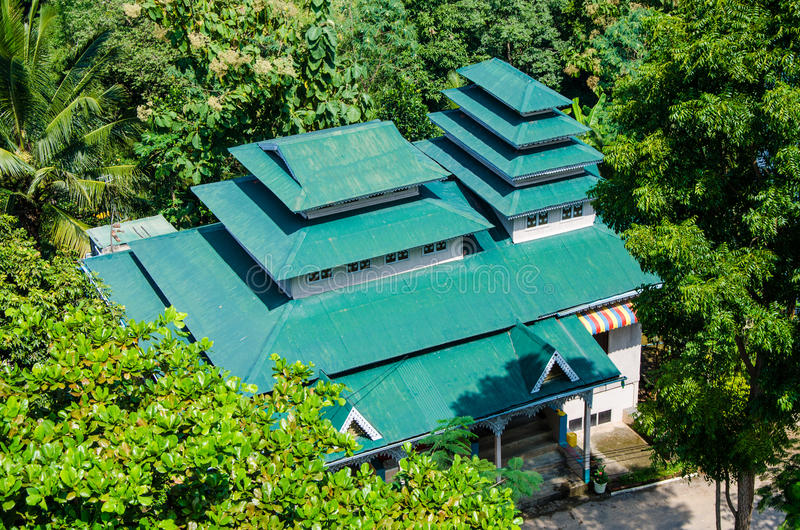 Myawaddy, Myanmar : Green roof of house. stock image