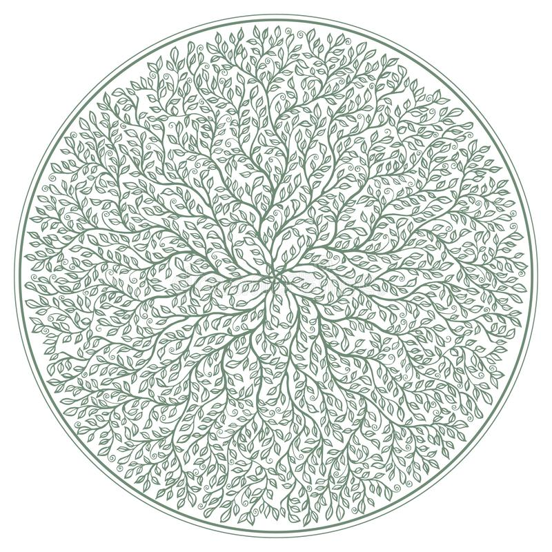 Green rosette with tree branches and foliage ornament isolated on white background royalty free illustration