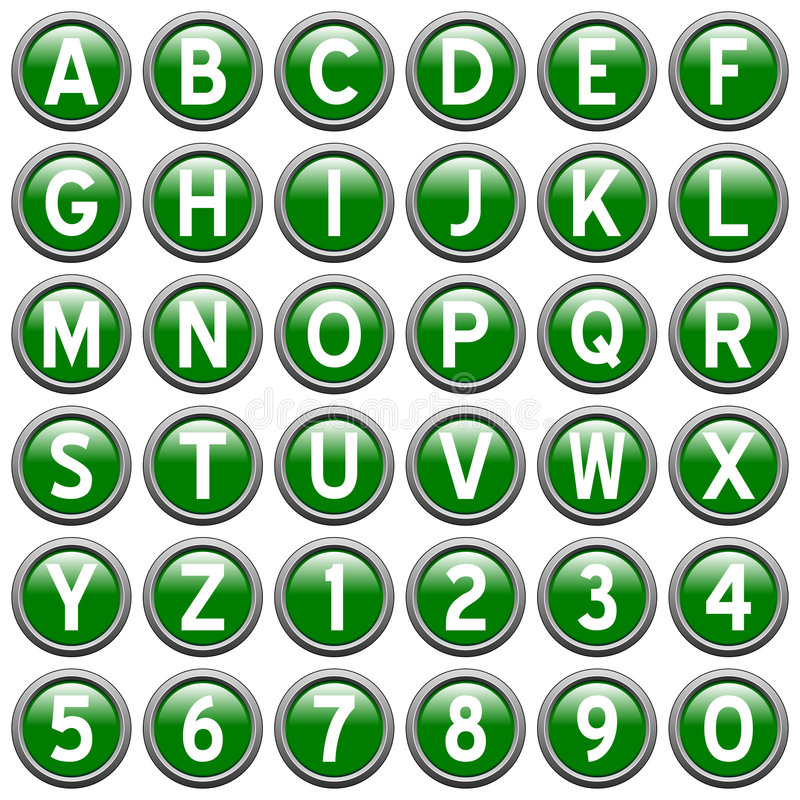 Green Round Alphabet Buttons. Green alphabet & numbers round buttons isolated on white background. Each button is 750x750 pixels stock illustration