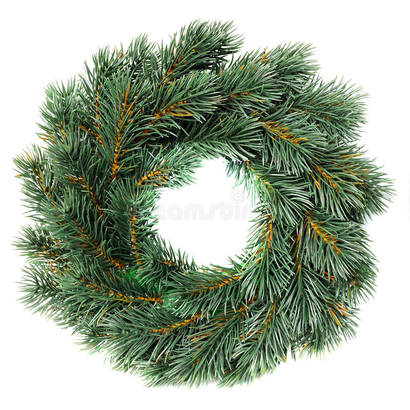 Green round Christmas wreath stock photo