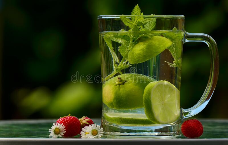 Green Round Fruit on Clear Glass Mug With Water royalty free stock images