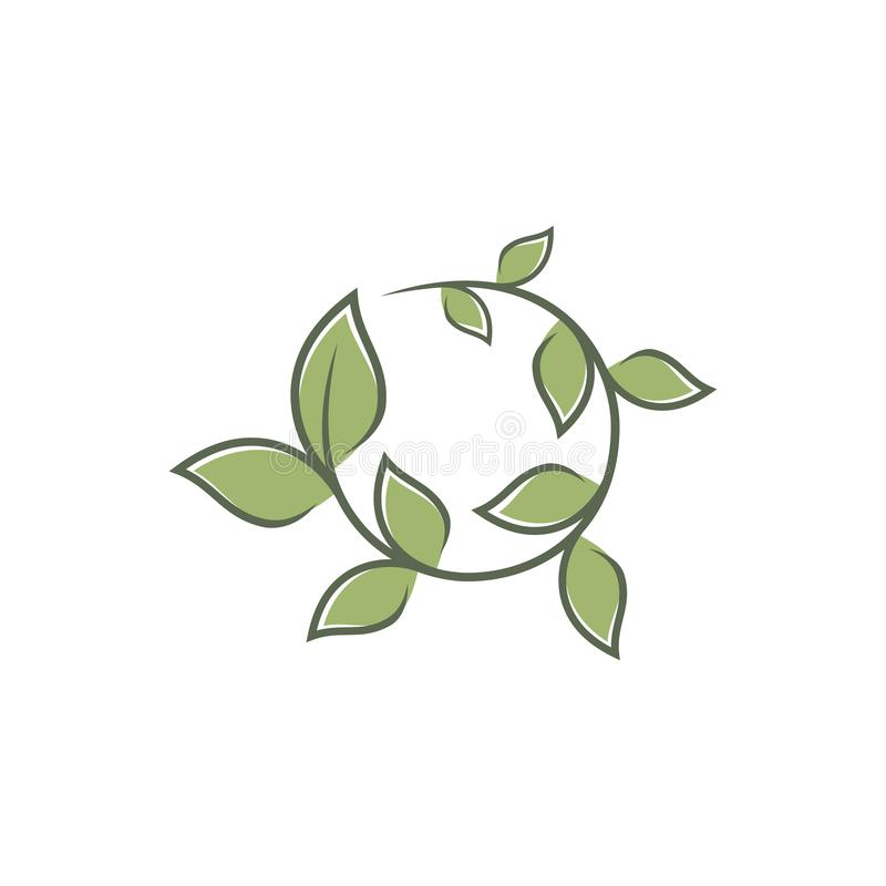Green round leaf ornament symbol vector icons symbol. Spring leaves ecology symbols. Vector illustration EPS.8 EPS.10 stock illustration