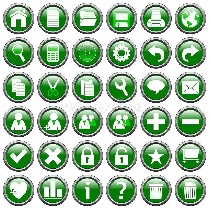 Green Round Web Buttons [1]. 36 website and application round buttons isolated on white background. Each button is 750x750 pixels. Green Round Web Buttons royalty free illustration