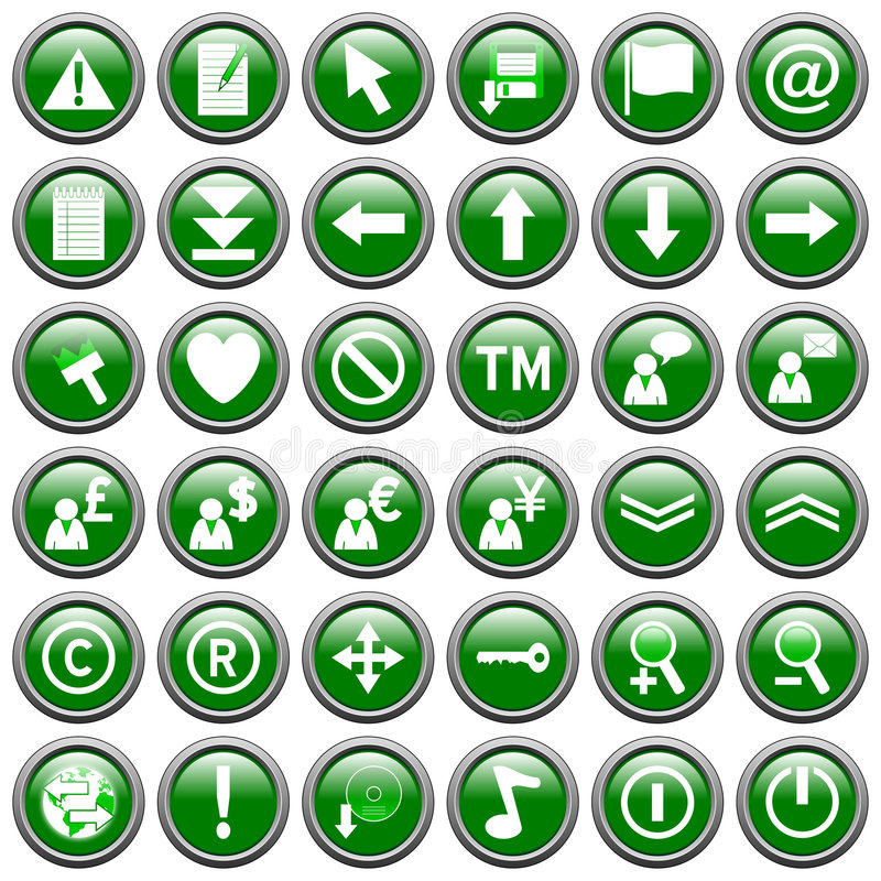 Green Round Web Buttons [2]. 36 website and application round buttons isolated on white background. Each button is 750x750 pixels. Green Round Web Buttons vector illustration