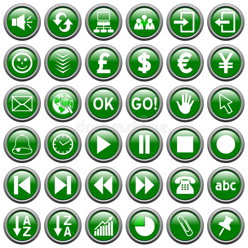 Green Round Web Buttons [3]. 36 website and application round buttons isolated on white background. Each button is 750x750 pixels. Green Round Web Buttons vector illustration