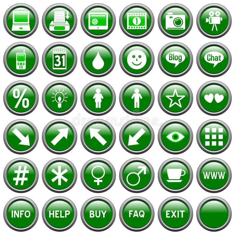 Green Round Web Buttons [4]