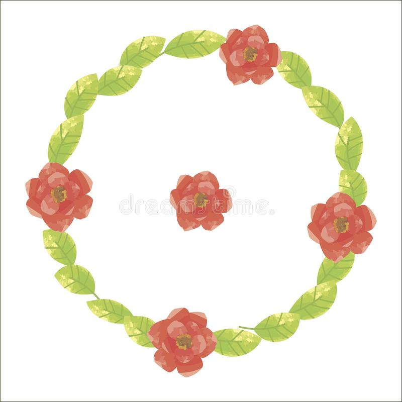 Green round wreath from sunny fresh leaves with saturated red flowers with yellow mid-poppies isolated on white background in vect vector illustration