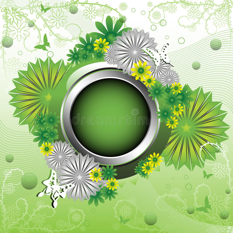 Vector Green Rounded Flower Frame Stock Vector Illustration Of Cartoon Field 36016643