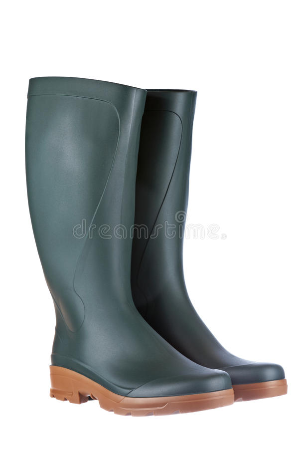 Green rubber boots royalty free stock photo