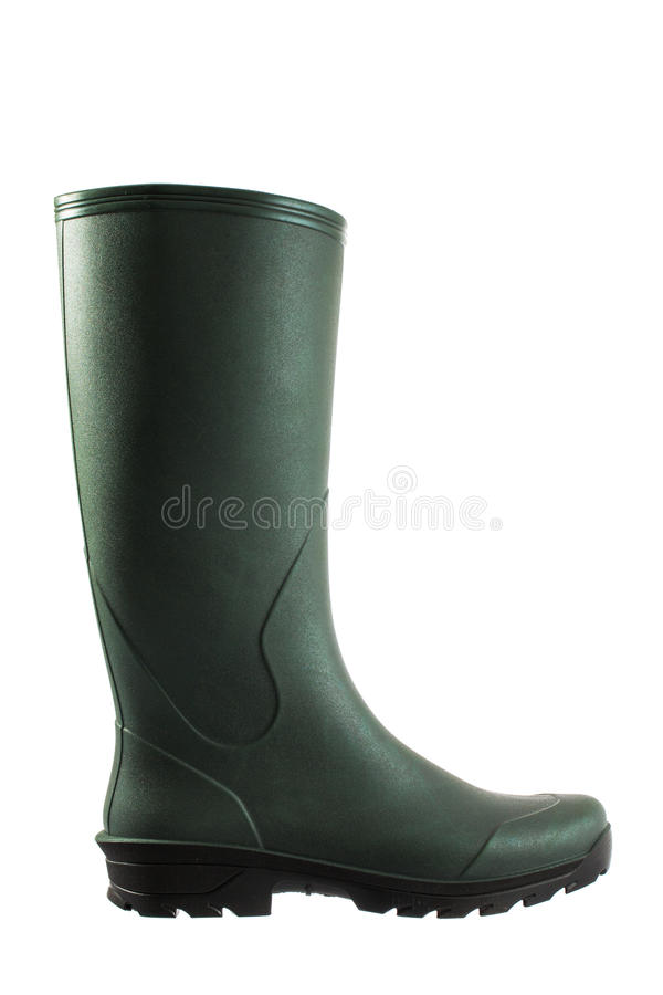 Green rubber boots isolated on white background stock photos