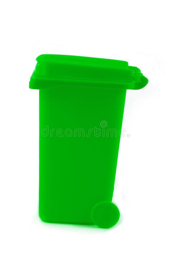 Rubbish litter bin isolated on white stock photos