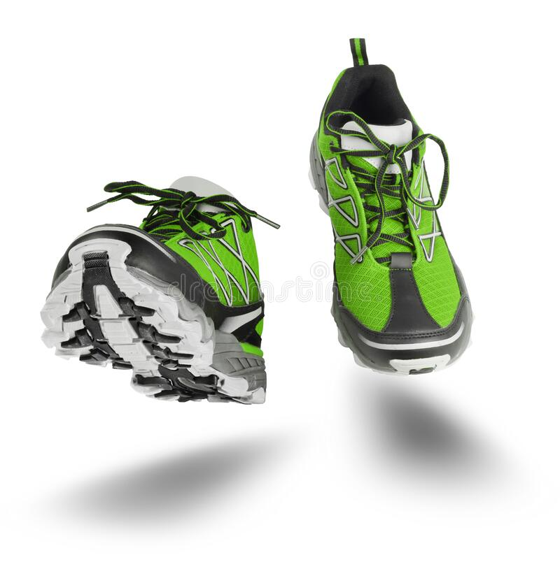 Green sport shoes running isolated on white royalty free stock photography
