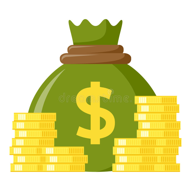 Green Sack of Money & Coins Flat Icon stock illustration