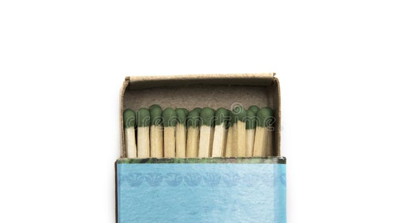 Green safety matches in a box stock image