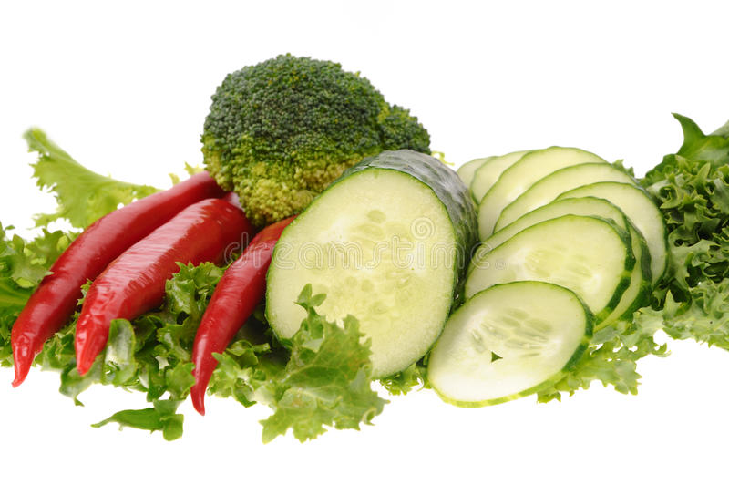 Green Salad  Carrot Musrooms Pepper Royalty Free Stock Image