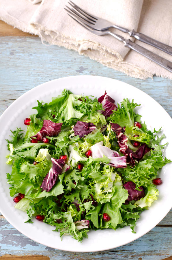 Green salad with spinach, frisee, arugula, radicchio and pomegranate seeds on blue wooden background. Vertical stock photo