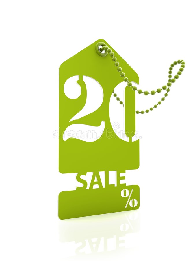 Green sale card 20% stock images