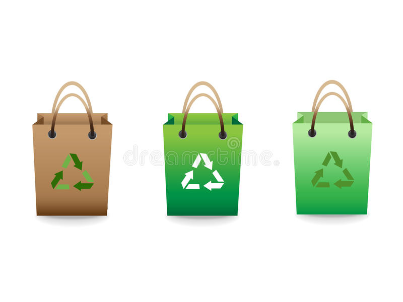 Green Sale Shopping Bags With Recycle Sign Royalty Free Stock Image