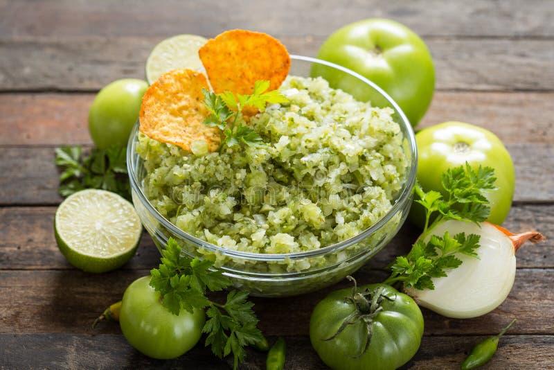 Green salsa verde stock image
