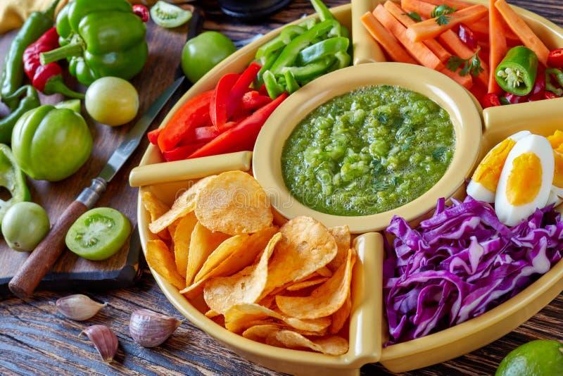 Green salsa verde, mexican cuisine, top view stock photos