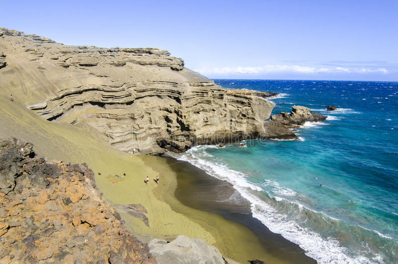 Download Green Sand Beach stock image. Image of hawaii, people - 43084383