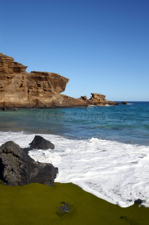 Download Green sand beach on Hawaii stock image. Image of scenic - 4385325