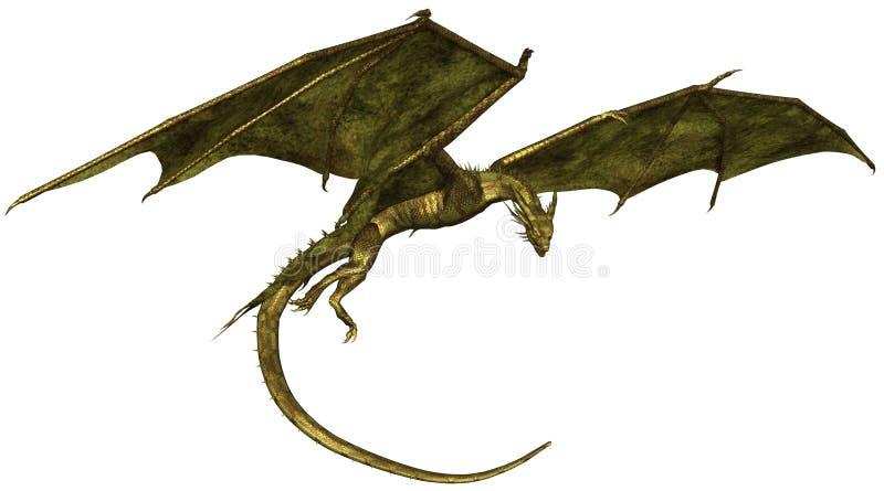 Green Scaled Dragon in Flight stock illustration