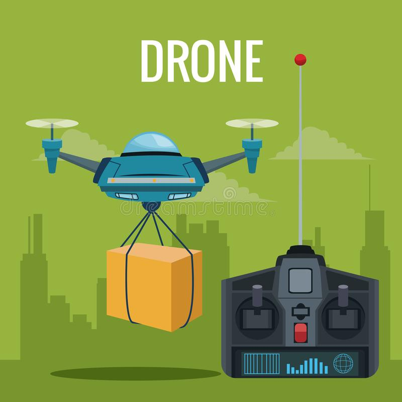 Green scene city landscape set remote control and blue robot drone carrying box with pair of airscrew. Vector illustration vector illustration