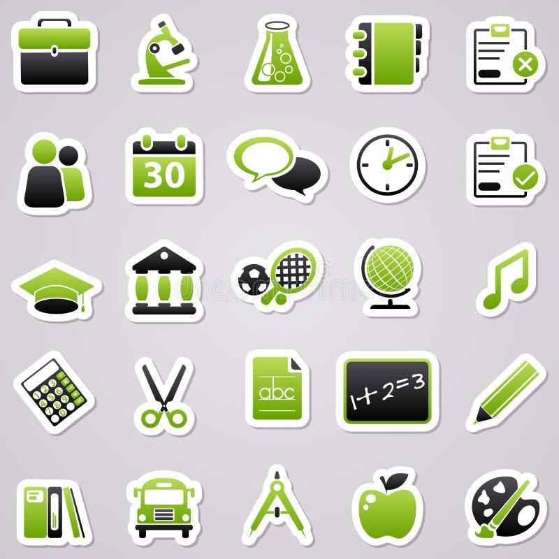 Green school stickers. stock illustration