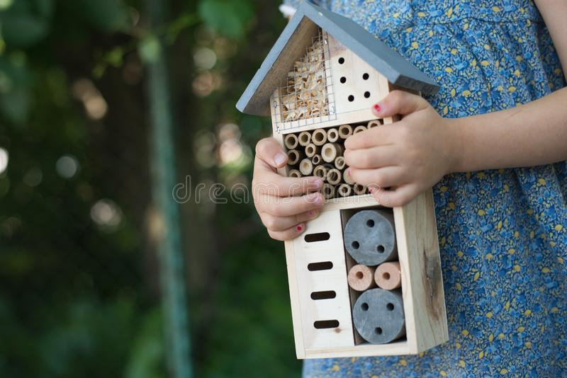 Girl holding insect hotel royalty free stock photos