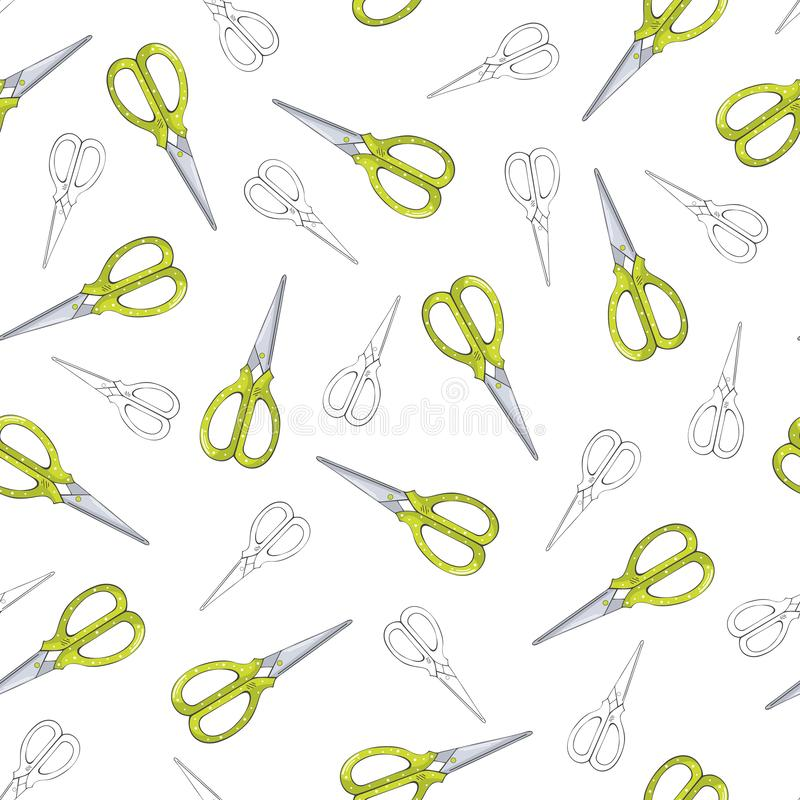 Green scissors seamless pattern on white background vector illustration