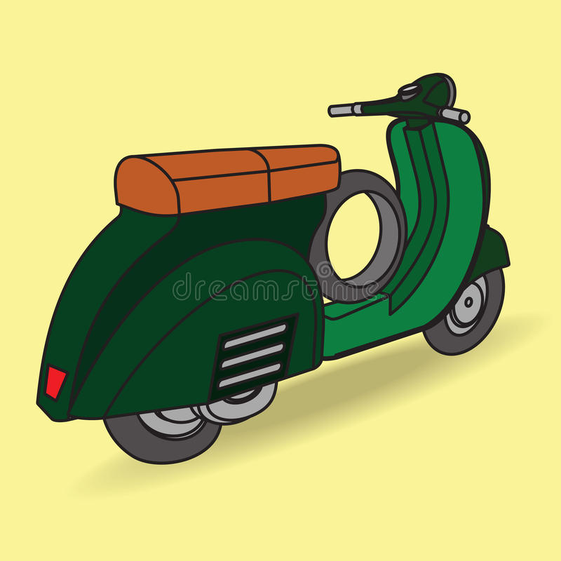 Green scooter on cool background vector illustration
