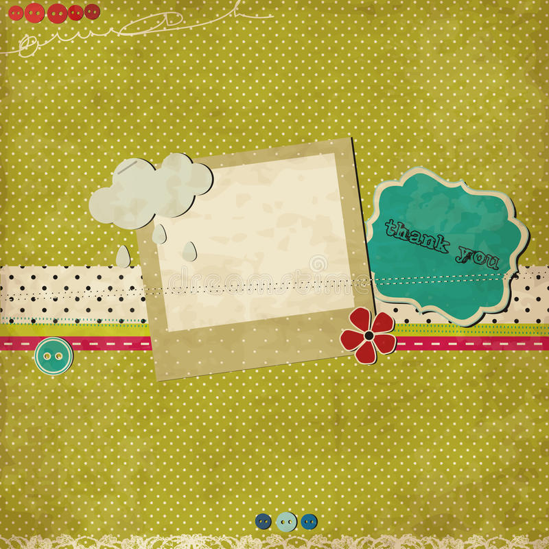 Green scrap template. With photo frame royalty free illustration