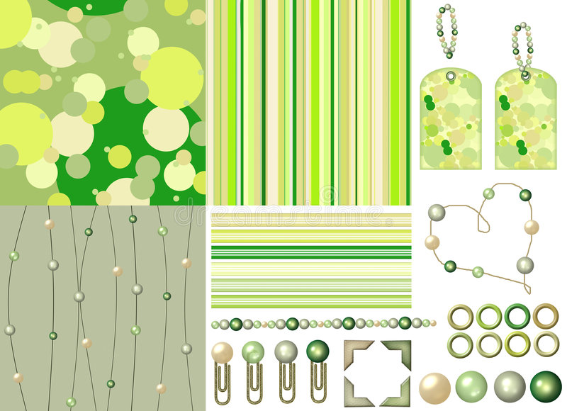 Green scrapbook kit with beads royalty free illustration