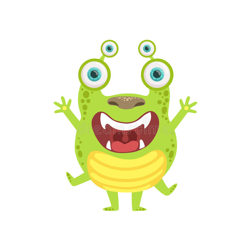 Green Screaming Friendly Monster vector illustration