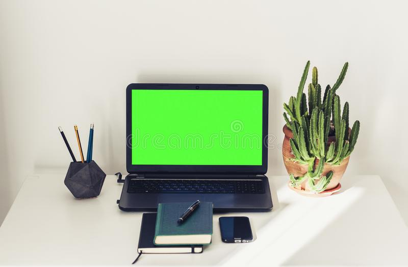 Green screen laptop, cactus plant in clay pot, book, notebook, smartphone and pencils on white table, education office concept royalty free stock image