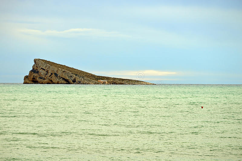 Green Sea And Benidorm Island stock image