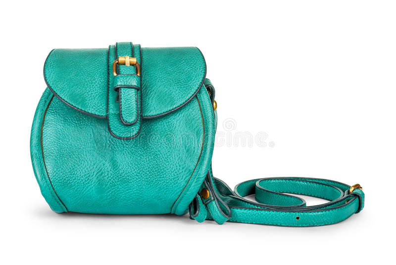 Green sea ladies leather bag. On an isolated white background royalty free stock photo
