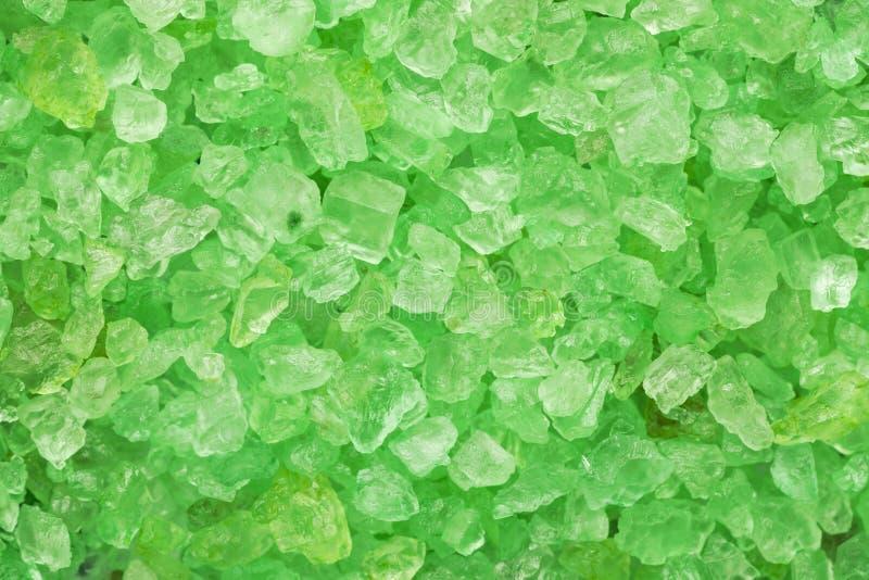 Green sea salt crystals macro shot, abstract texture stock photo