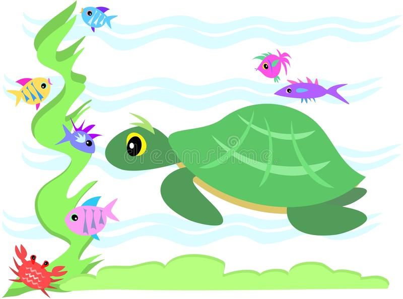 Download Green Sea Turtle Stares At Marine Friends Stock Vector - Image: 13948917