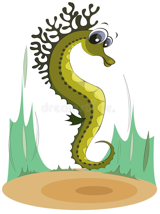 Green seahorse on the seabed. Cartoon character vector illustration