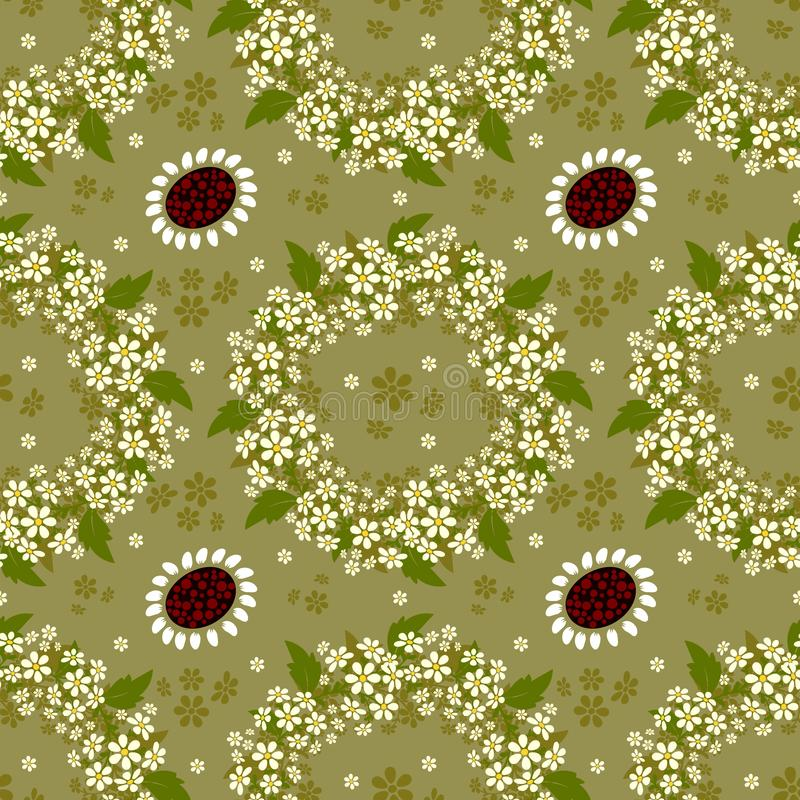 Seamless background with a repeating pattern of floral wreaths stock illustration