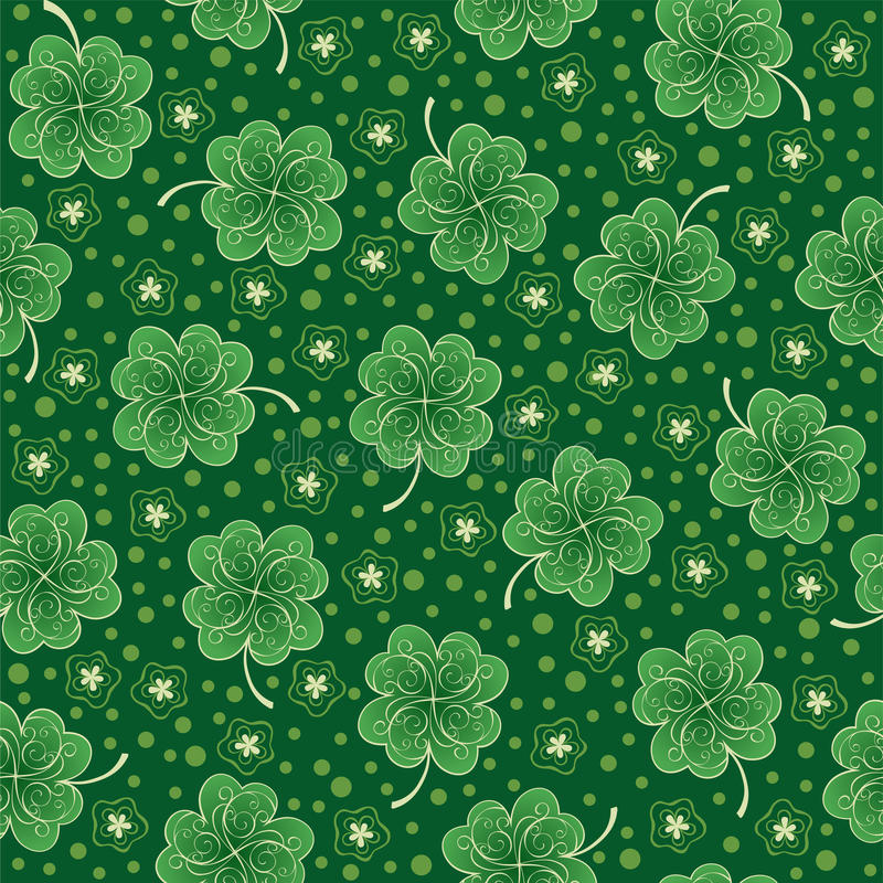 Download Green Seamless Background With Shamrock Stock Vector - Illustration: 66491889