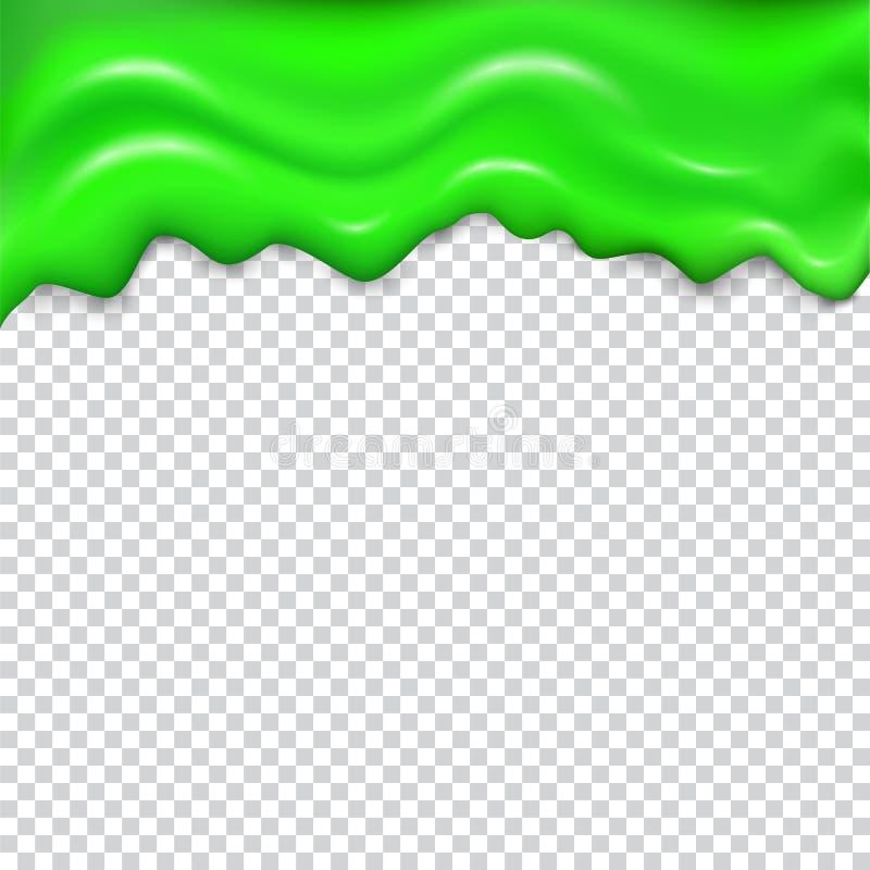 Green seamless dripping slime. stock illustration
