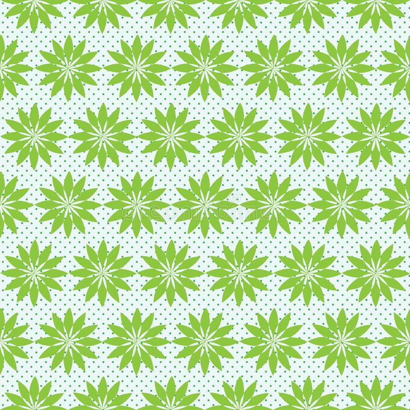 Green Seamless floral pattern with small polka dots. On white background. Pattern contains floral shape with small polka dots in light green royalty free illustration