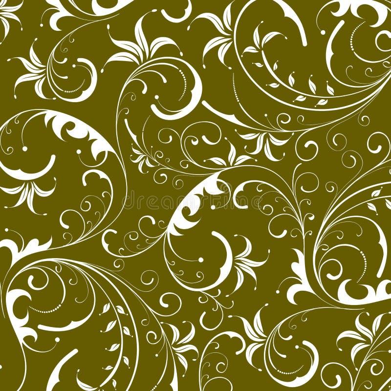 Green seamless flower damask background stock illustration