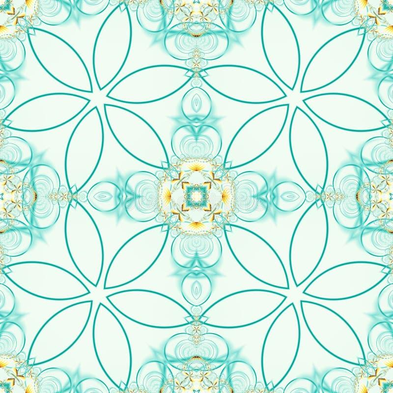 Green seamless fractal based tile with stylized flower design stock illustration
