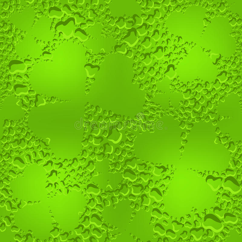 Green seamless glass clover leaves with transparent drops of dew. Illustration in vector format royalty free illustration