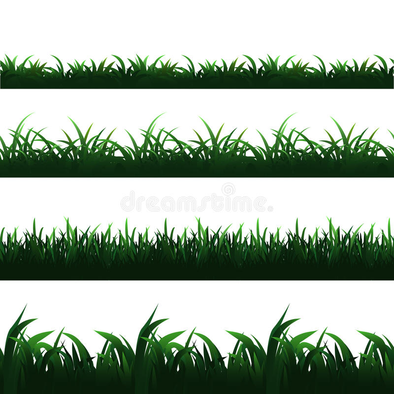 Green seamless grass borders vector set royalty free illustration